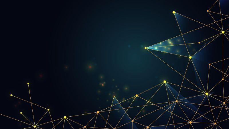 Darstellung eines Netzwerks vor einem dunklen Hintergrund. Ein Netzwerkpunkt tritt golden hervor.