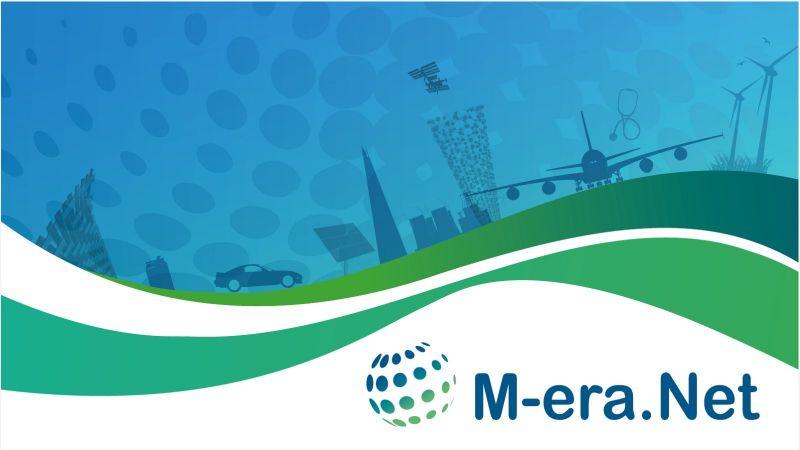 Das Bild zeigt das Logo von M-ERA.NET mit grünen und blauen Farben und im Hintergrund Symbole für erneuerbare Energien