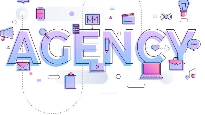 Schriftzug Agency umgeben von grafischen Symbolen wie Glühbirne, Lupe und Bildschirm