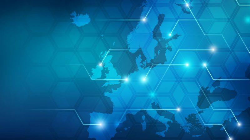 Blaue Europakarte mit verschiedenen Linien, die mit Sternensymbolen enden