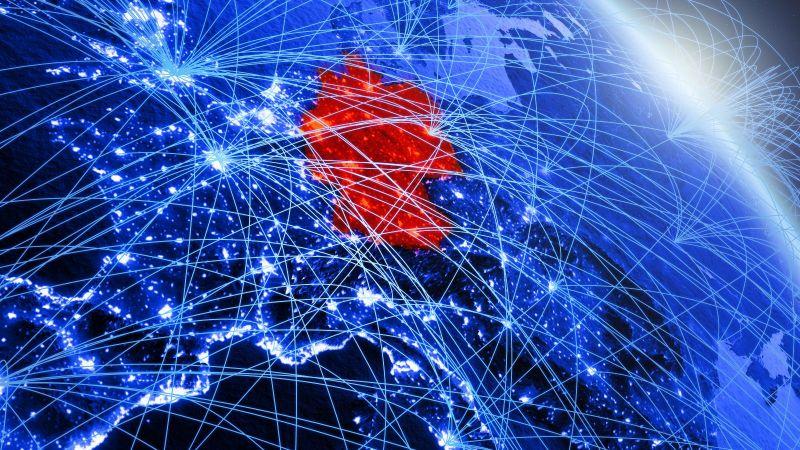 Das Bild zeigt eine Europakarte. Deutschland ist in Rot hervorgehoben und zwischen den Ländern werden Verbindungen angezeigt.