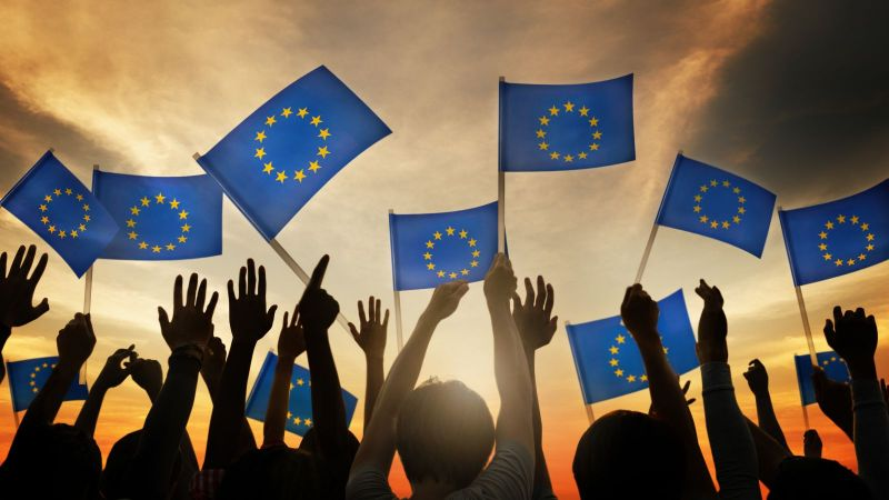 Das Bild zeigt eine Menschenmenge, die Europafahnen hochhält und auf den Horizont schaut.