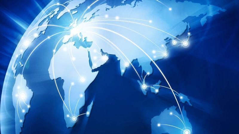 Das Bild zeigt einen Ausschnitt einer Weltkarte, auf der ausgehend von Europa Verknüpfungen mit anderen Ländern dargestellt sind.
