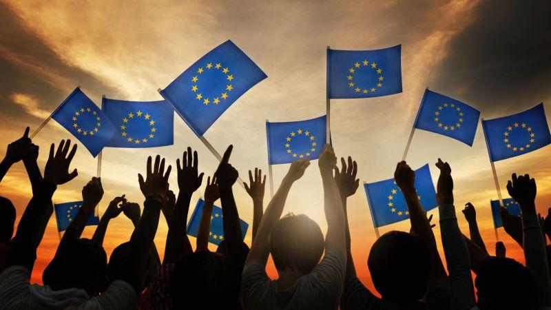 Die Abbildung zeigt eine Menschenmenge mit erhobenen Armen. Die Menschen haben Europafahnen in den Händen und schauen auf einen Horizont.