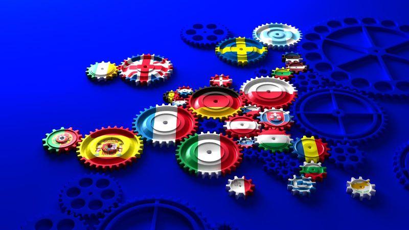 Das Bild zeigt eine stilisierte Europakarte, in der die Länder als Zahnräder dargestellt sind.