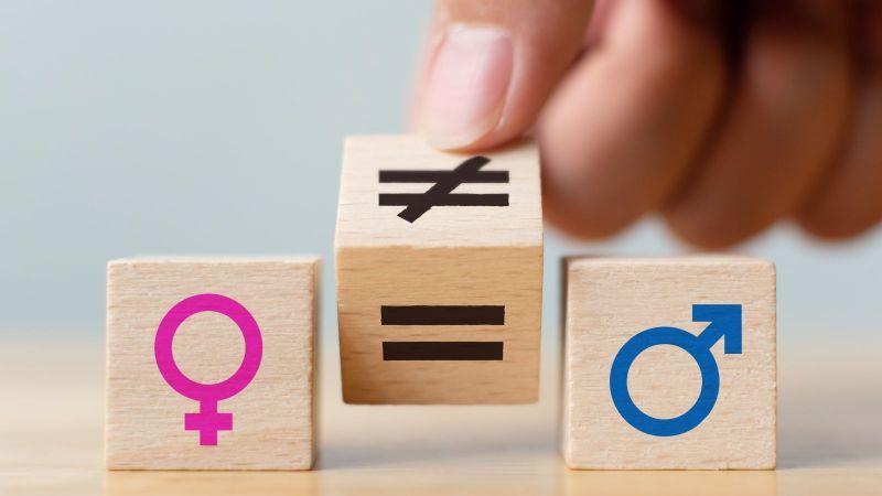 Das Bild zeigt drei Holzwürfel. Auf dem linken ist ein Weiblichsymbol, auf dem rechten ein Männlichkeitsymbol zu sehen. Der mittlere Würfel wird von einem Ungleichzeichen auf ein Gleichheitszeichen gedreht.