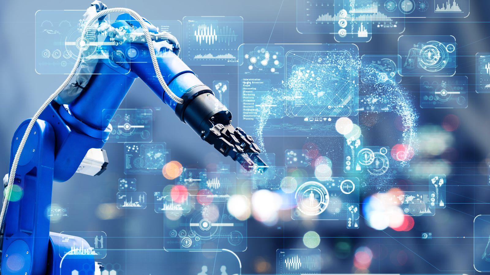 Diese Bild zeigt im Hintergrund einen großen Roboterarm. Im Vordergrund werden verchiedene unspezifische elektronische Datensätze dargestellt.
