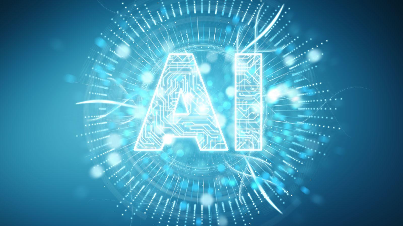 Diese Bild zeigt einen leuchtenden Kreis, innerhalb dessen groß die Buchstaben AI geschrieben stehen. Die Buchstaben sind von elektronischen Leiterbahnen durchzogen.