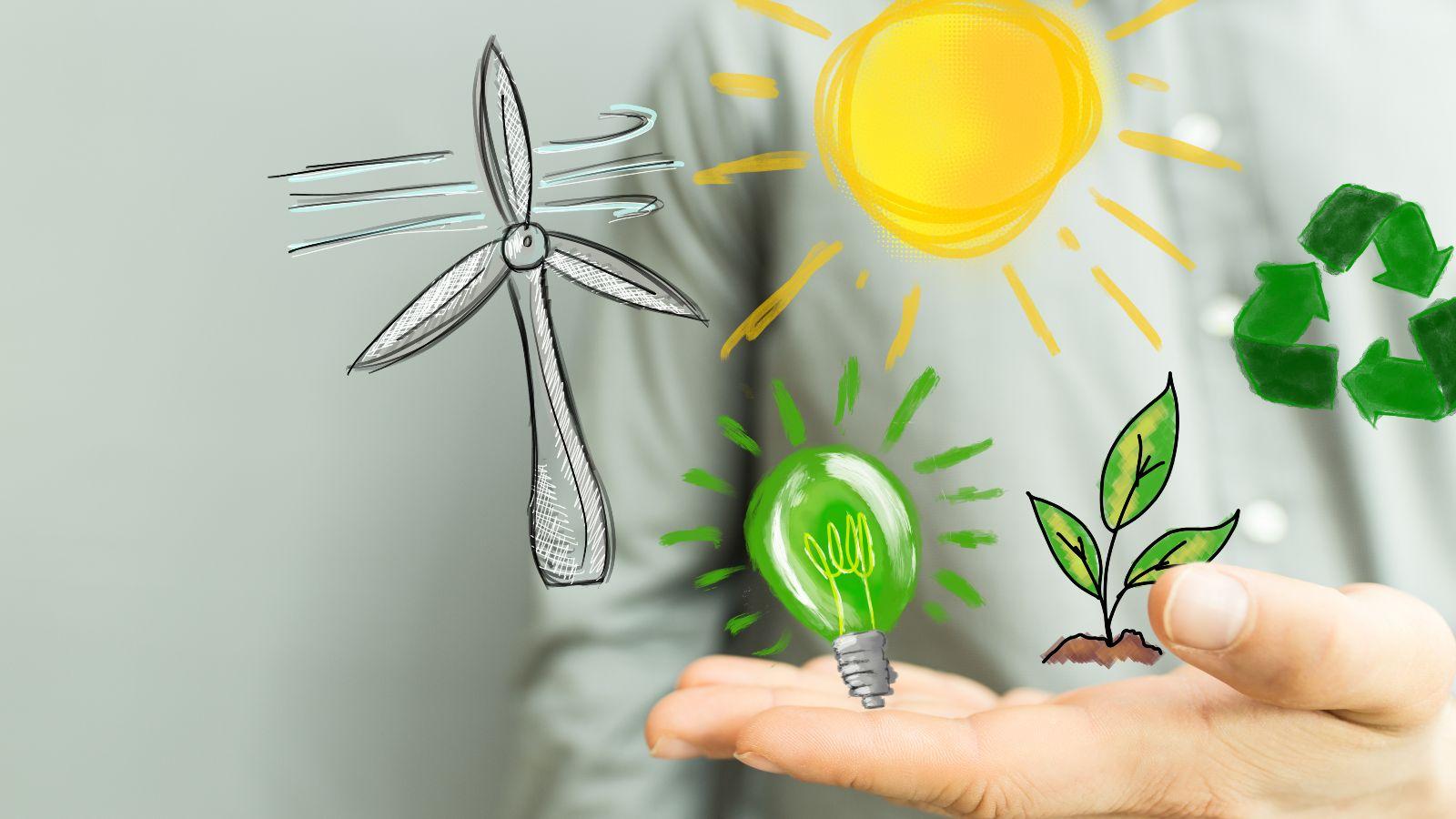 Dieses Bild zegt eine geöffnete Hand, über der ein Windrad, eine grüne Glühbürne, ein gepflanzter Baum, ein Recycling-Zeichen sowie eine Sonne gemalt sind.
